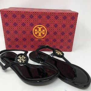 Tory Burch Black Soft Patent Leather Sandal 8M Z